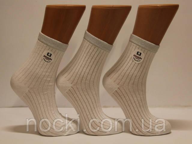 Женские носки высокие в рубчик c люрексовой резинкой ZG  белый