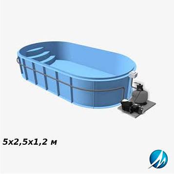 Полипропиленовый овальный бассейн 5х2,5х1,2 м