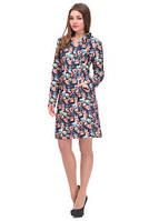 Теплое платье офисного стиля с цветочным принтом из стеганного трикотажа
