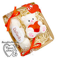 Мыло набор мишка с сердцем, скраб рафаэлло, подарок любимой, ручная работа, Валентинка, день Влюбленных