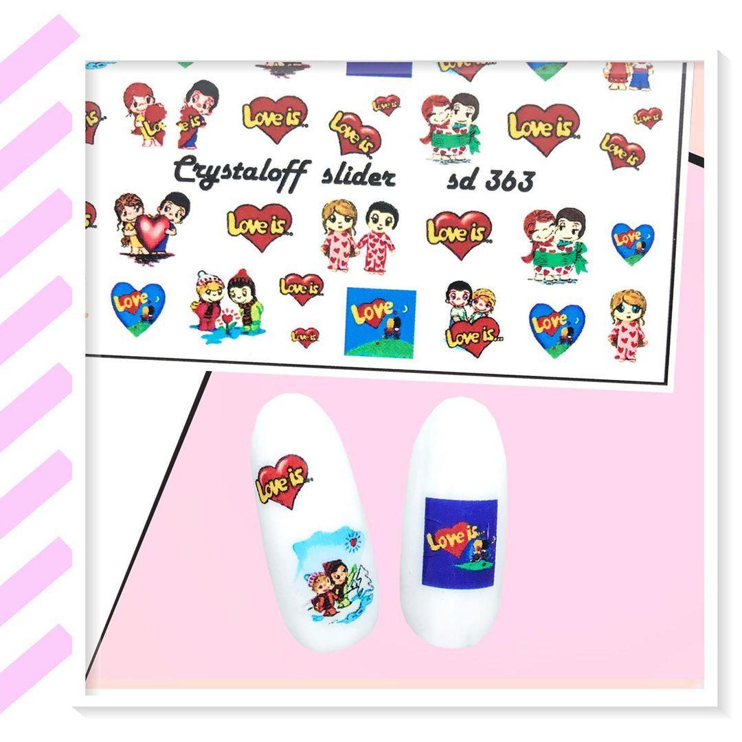 Слайдер-дизайн день святого Валентина LOVE Любов Слайдери Водні Наклейки СЕРДЕЧКА Crystaloff Slider 363
