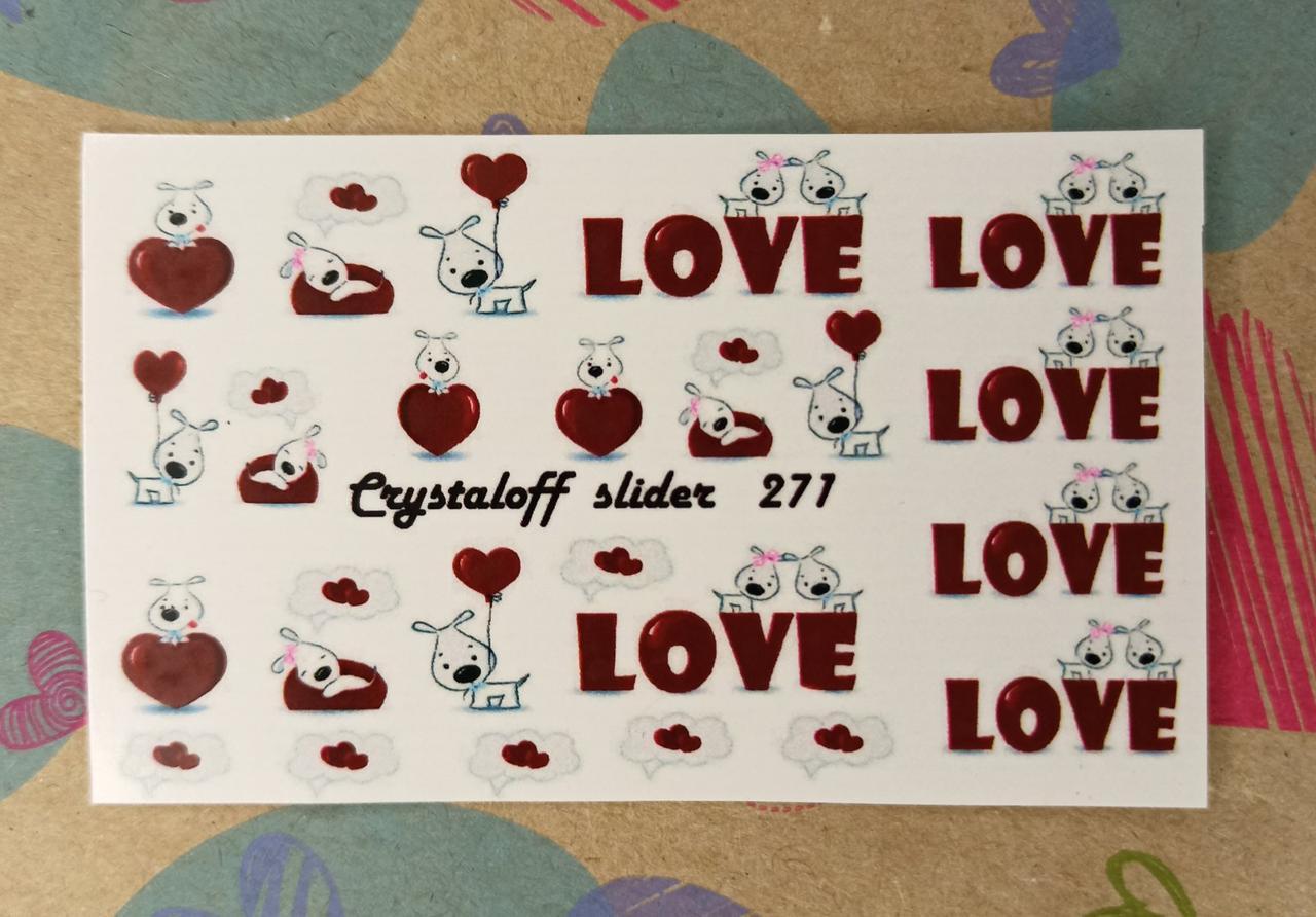 Наклейки на нігті ДеньЗакоханих Сердечки - Слайдер Дизайн на водній основі Crystaloff Slider