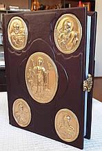 Церковное Евангелие в кожаном переплете с позолотой (язык на выбор) 21x26cm