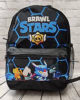 Brawl stars Детский рюкзак для мальчика бравл старс нейлон соты синий с черным