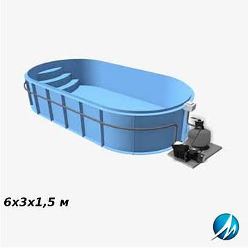 Полипропиленовый овальный бассейн 6х3х1,5 м