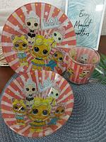 Набор детской посуды стекло Lol, фото 4