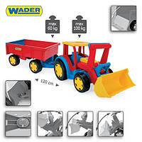 Большой игрушечный трактор Gigant Truck от ТМ Wader с прицепом и ковшом.