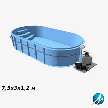 Полипропиленовый овальный бассейн 7,5х3х1,2 м
