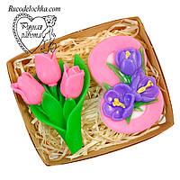 Мило набір 8 березня, вісімка, букет тюльпанів, подарунок жінці, ручна робота