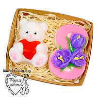 Мило набір 8 березня, вісімка, ведмедик з серцем, подарунок жінці, ручна робота