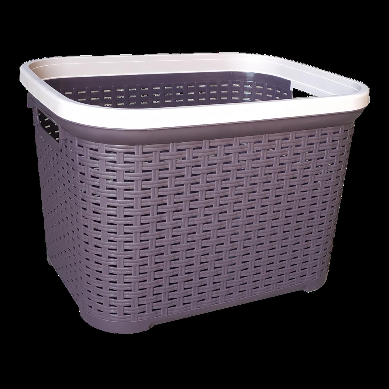 Корзина для белья под ротанг 35 л фиолетовая