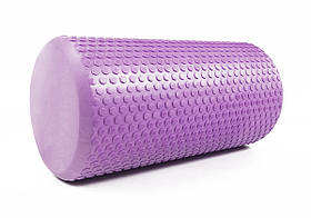 Массажный ролик для йоги и фитнеса Foam Roller 30 см сиреневый EVA пена