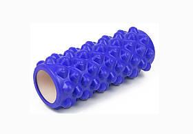 Массажный ролик для йоги и фитнеса Grid Roller Extreme 33 см синий EVA пена