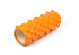 Массажный ролик для йоги и фитнеса Grid Roller Extreme 33 см оранжевый EVA пена