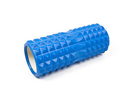 Массажный ролик для йоги и фитнеса Grid Roller 33 см v.1.2 синий EVA пена