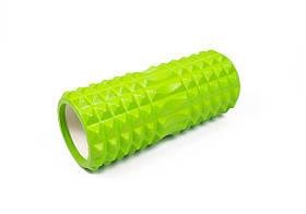 Массажный ролик для йоги и фитнеса Grid Roller 33 см v.1.2 салатовый EVA пена