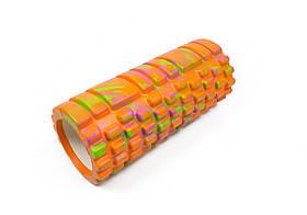 Массажный ролик для йоги и фитнеса Grid Roller 33 см v.1.1 (M) оранжевый EVA пена
