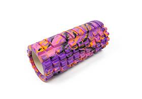 Массажный ролик для йоги и фитнеса Grid Roller 33 см v.1.1 (M) фиолетовый EVA пена