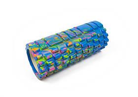 Массажный ролик для йоги и фитнеса Grid Roller 33 см v.1.1 (M) синий EVA пена