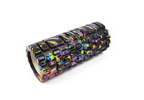 Массажный ролик для йоги и фитнеса Grid Roller 33 см v.1.1 (M) черный EVA пена