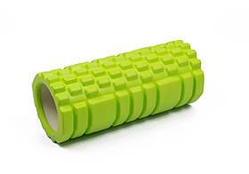 Массажный ролик для йоги и фитнеса Grid Roller 33 см v.1.1 салатовый EVA пена