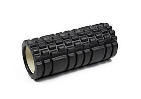 Массажный ролик для йоги и фитнеса Grid Roller 33 см v.1.1 черный EVA пена