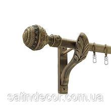 Карниз для штор одинарний 25мм АРАБЕСКА 1.6м Тримач РЕТРО Колір античне золото