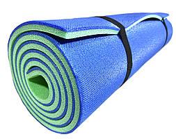 Коврик туристический двухслойный походный каремат 1800х600х10мм, синий/зеленый