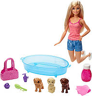 Barbie Кукла Барби купание щенков Barbie Doll GDJ37 Blonde and Playset with 3 Puppies, фото 1