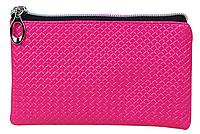 Кошелек женский розовый кожзам на замочке молнии 14.8 см * 9 см