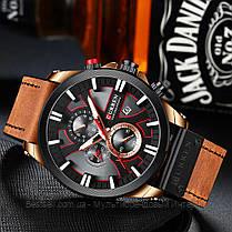 Оригинальные мужские часы c хронографом кожанный ремешок Curren 8346 Brown-Cuprum-Black / Часы Курен, фото 3