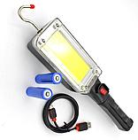 Ліхтар світлодіодний акумуляторний COB LED ZJ-8859/WD357 (2 режими, магніт, гак, microUSB), фото 2