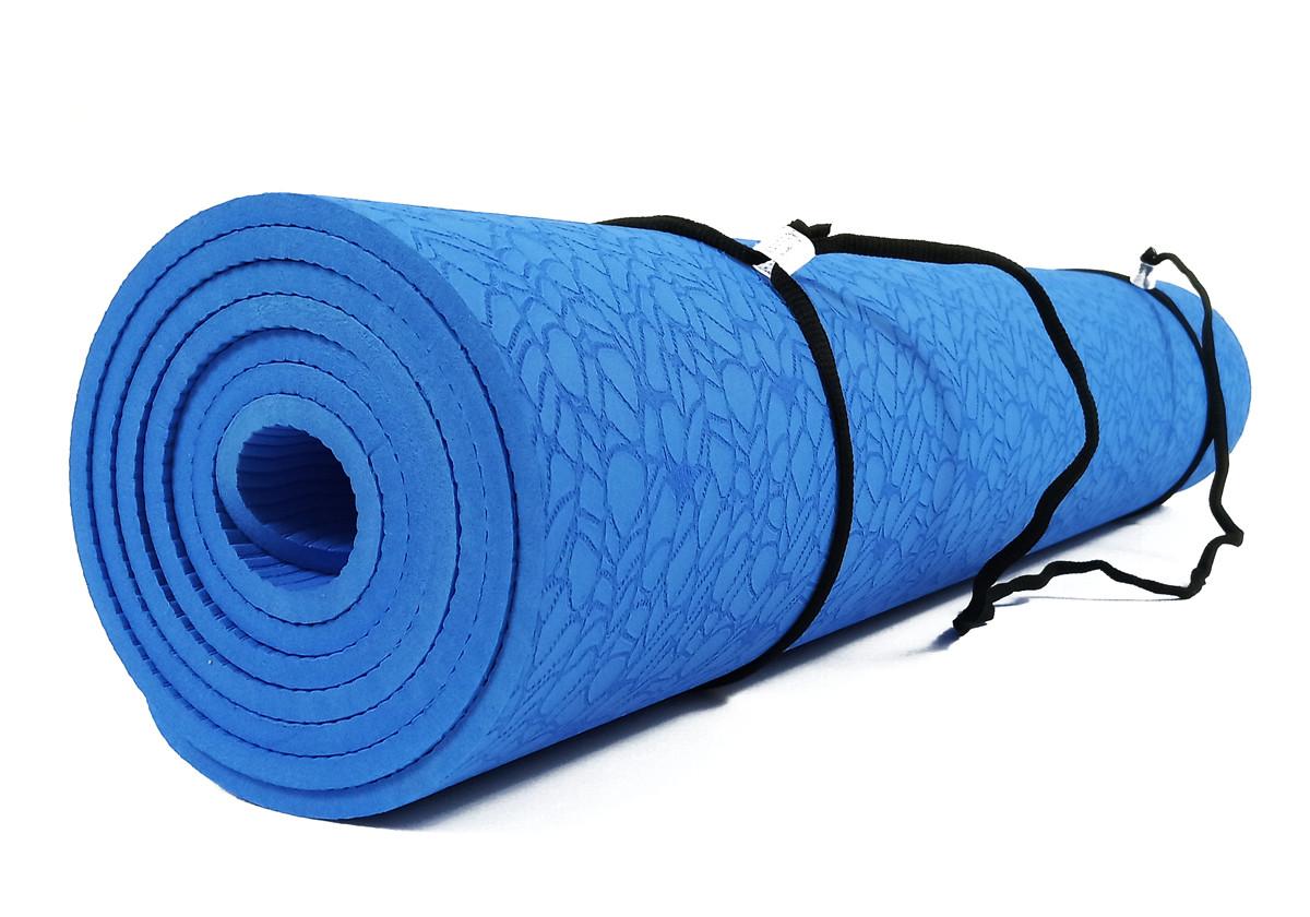 Коврик для йоги и фитнеса TPE(ТПЭ) 6 мм 183 см синий (стяжки в комплекте)