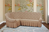 Натяжные чехлы на угловой диван и кресло турецкие Серый жаккардовый с оборкой Разные цвета, фото 6