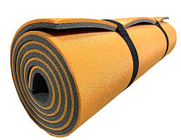 Коврик туристический двухслойный походный каремат 1800х600х10мм, оранжевый/серый