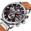 Оригинальные мужские часы c хронографом кожанный ремешок Curren 8346 Brown-Silver-Black / Часы Курен, фото 4