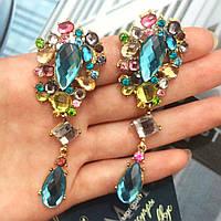 """Серьги """"Лери"""" с разноцветными камнями., фото 1"""