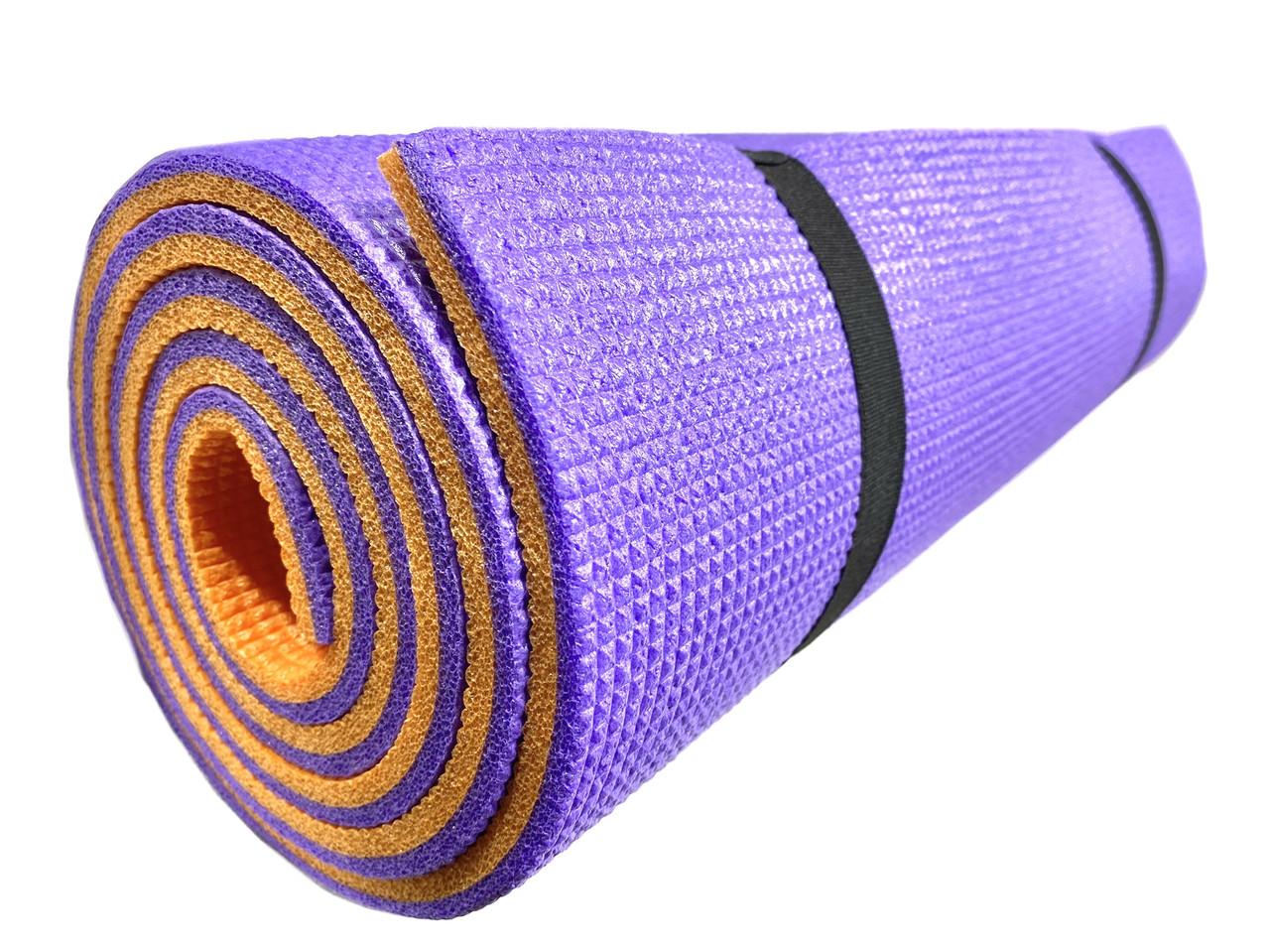 Коврик каремат «Турист» 1800×600×10мм двухслойный фиолетовый/оранжевый