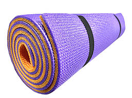Коврик туристический двухслойный походный каремат 1800х600х10мм, фиолетовый/оранжевый