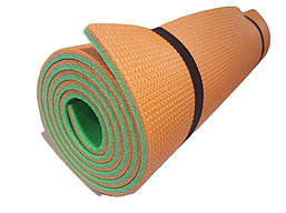 Коврик туристический двухслойный походный каремат 1800х600х10мм, оранжевый/зеленый