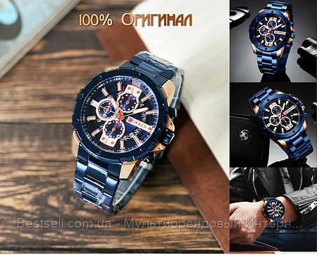 Оригинальные мужские часы хронограф стальной ремешок Curren 8336 Blue-Cuprum / Часы Курен, фото 2