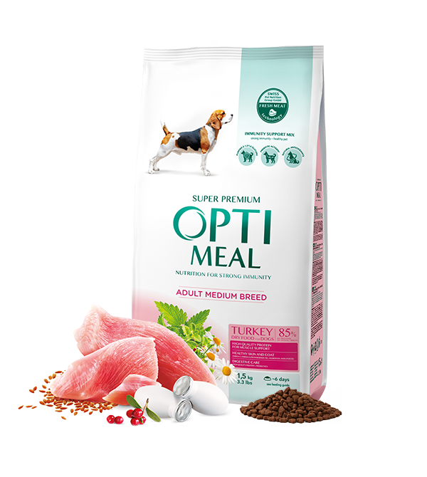 Сухий корм Optimeal (Оптимил) 4кг з індичкою для собак середніх порід