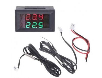 Двойной термометр с LED дисплеем и двумя щупами - красный зеленый
