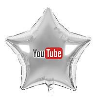 "Наклейка на фольгований куля 18"" YouTube напис 13*5см"