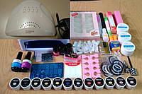 Професійний набір для покриття, дизайну і нарощування нігтів, лампа на вибір