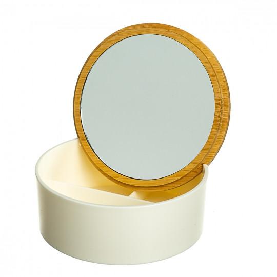 Шкатулка - дзеркало з бамбуковою кришкою 12,2 см (0500-012)