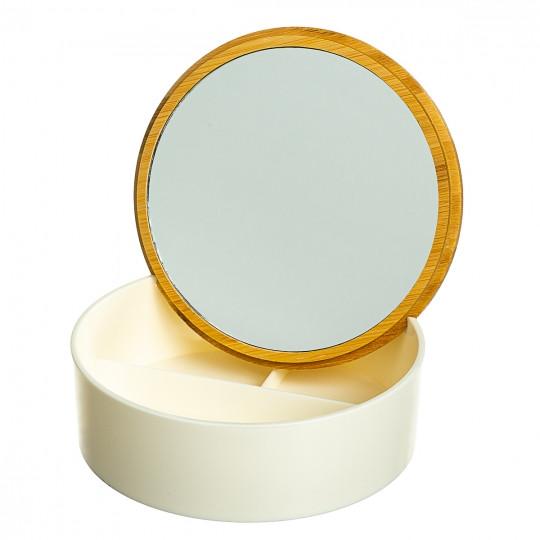 Шкатулка- зеркало с бамбуковой крышкой 15,2 см (0500-011)