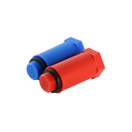 """Поліпропіленовий комплект довжелезних заторів з різьбою 1/2"""" (червоний + синій)"""