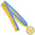 Медаль наградная для бильярда Бильярдист с лентой (1 место, золото)  ø5см, фото 3