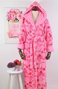 Халат женский Massimo Monelli Веточка розовый